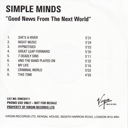 Remastered Edition - promo - CD album (ref: SIMCDX11) - Good News From The Next World
