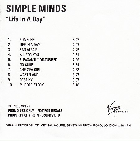 Remastered Edition - promo - CD album (ref: SIMCDX1) - Life In A Day
