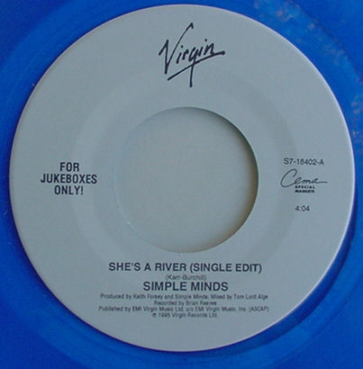 "She's A River - 7"" single (45 tours) (ref: S7-18402) - Jukebox blue vinyl - En commande"
